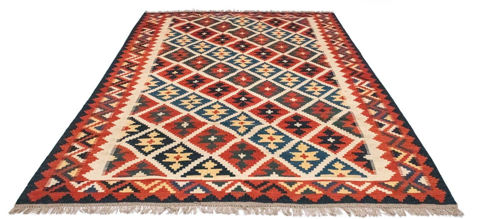 morgenland wollen kleed Kelim Fars Teppich handgewebt orange Laagpolig voordelig en veilig online kopen