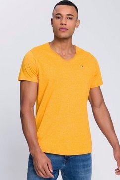 tommy jeans t-shirt tjm slim jaspe v neck oranje