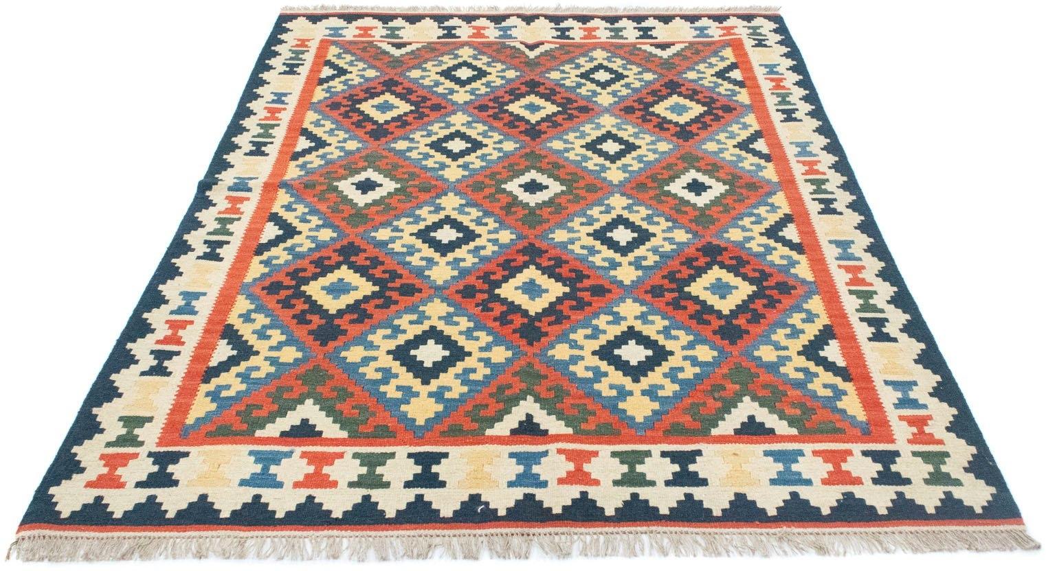 morgenland wollen kleed Kelim Fars vloerkleed met de hand geweven bruin Laagpolig nu online bestellen