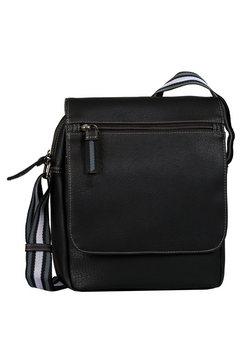tom tailor schoudertas »warren flap bag« zwart