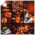 artland artprint koffie collage in vele afmetingen  productsoorten -artprint op linnen, poster, muursticker - wandfolie ook geschikt voor de badkamer (1 stuk) bruin