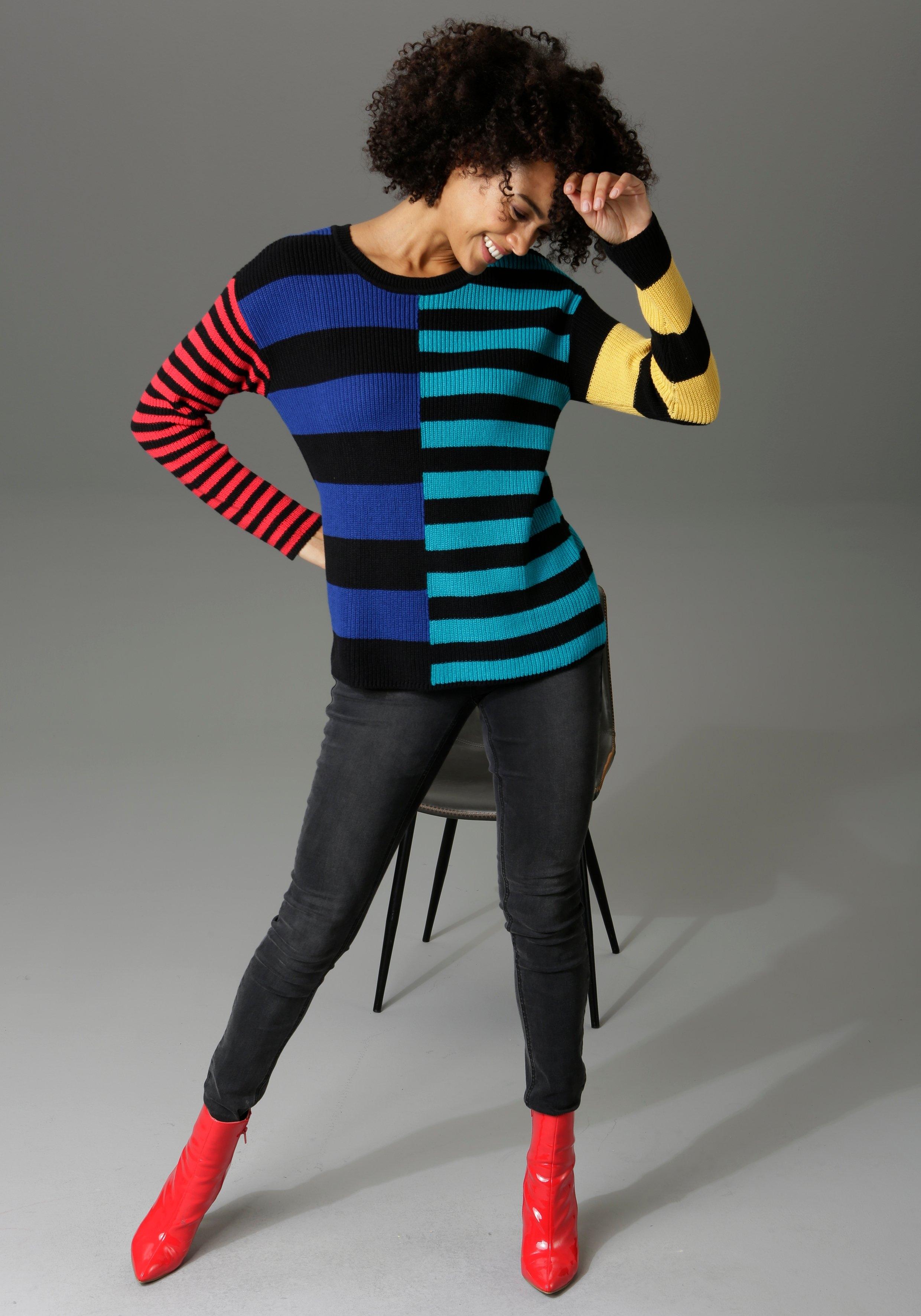 Op zoek naar een Aniston CASUAL trui met ronde hals in kleurrijke strepenmix? Koop online bij OTTO