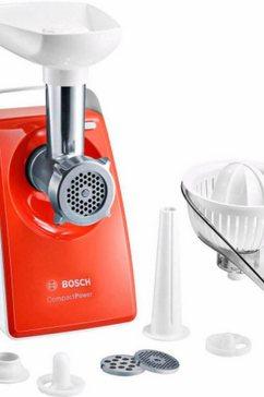 bosch vleesmolen compactpower mfw3630i inclusief citruspers, worstvuller en kibbeh-opzet oranje