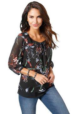 alessa w. blouse in moderne laagjes-look zwart