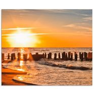 artland keukenwand schoener sonnenuntergang am strand (1-delig) oranje
