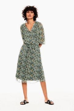 garcia jurk in a-lijn met bloemenprint all-over groen