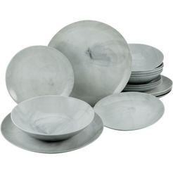 creatable eetservies marmer met natuurlijke marmerstructuur (set, 18 delig) grijs