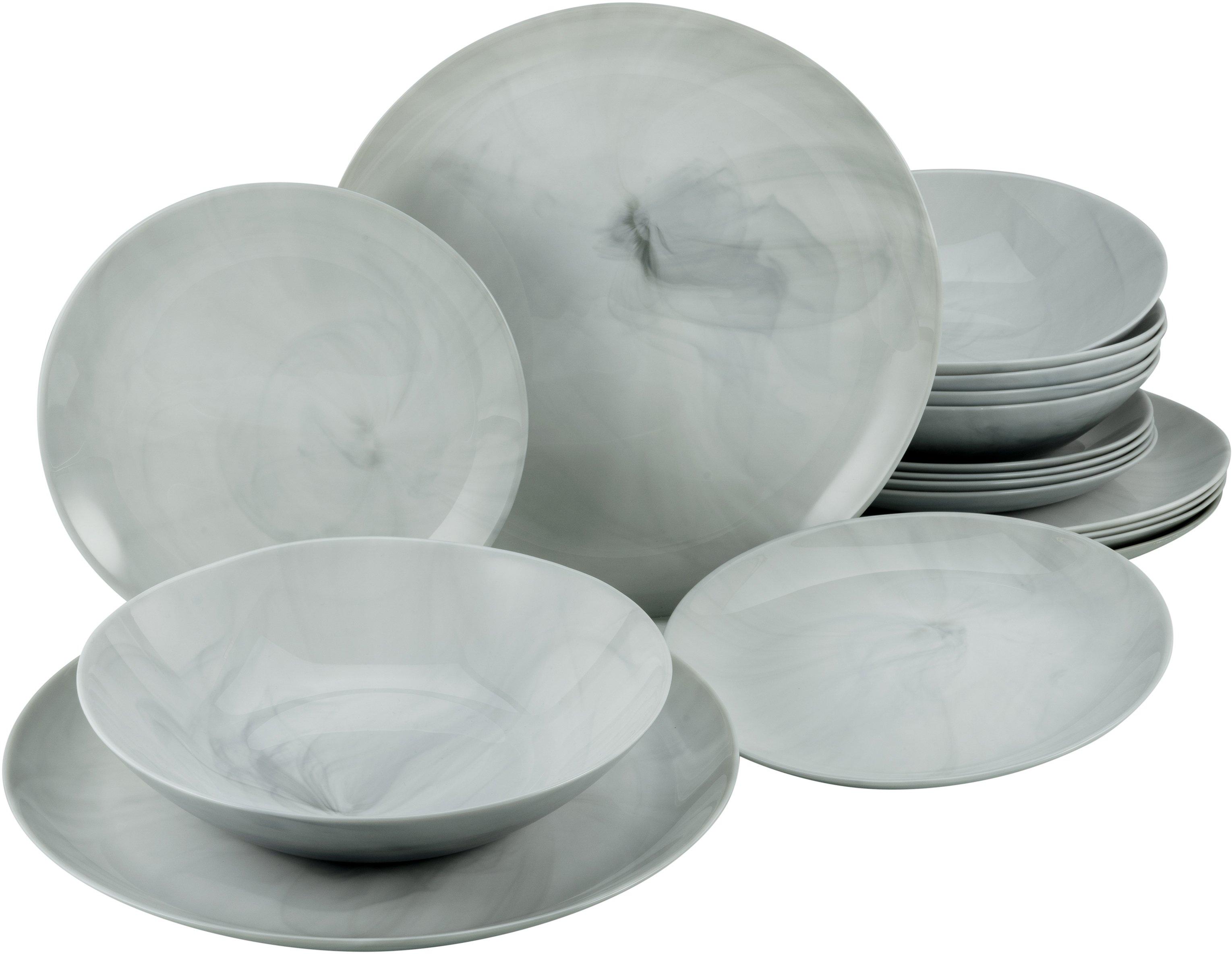 CreaTable eetservies Marmer met natuurlijke marmerstructuur (set, 18 delig) - verschillende betaalmethodes