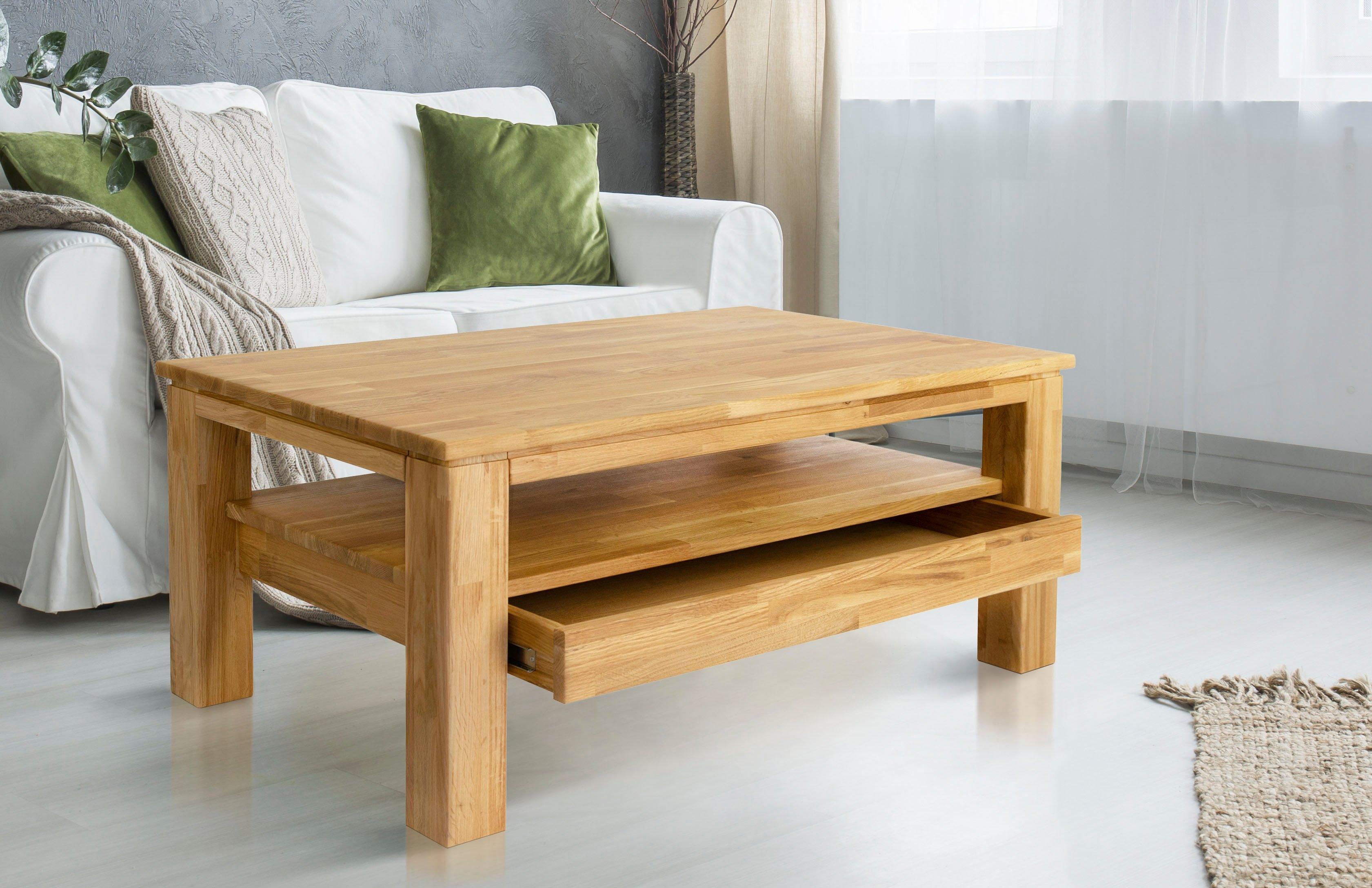 Home affaire salontafel Monica van massief geolied beukenkernhout, met een lade, breedte 105 cm in de webshop van OTTO kopen