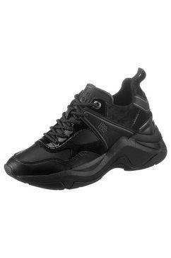 tommy hilfiger sneakers met sleehak warm lined fashion wedge sneaker met functionele aantreklus zwart