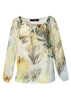 aniston casual blouse met carmenhals met tropical-print geel