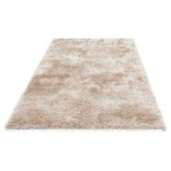 hoogpolig vloerkleed, »glossy 411«, merinos, rechthoekig, hoogte 70 mm, machinaal geweven beige