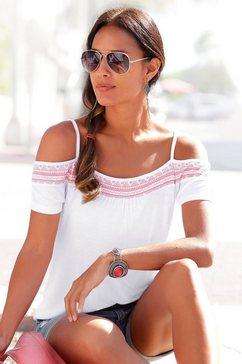 s.oliver red label beachwear shirt met korte mouwen met opgedrukt randdessin wit
