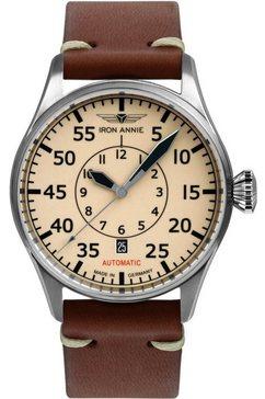 iron annie automatisch horloge flight control, navigator, superluminova, 5156-5 bruin