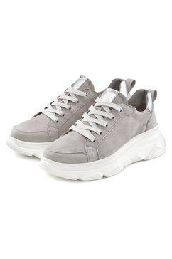 lascana sneakers van leer met chunky loopzool grijs