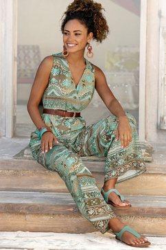 lascana jumpsuit met overlappende v-hals multicolor