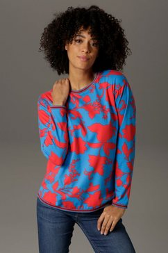 aniston casual sweatshirt met grafische bloemenprint blauw