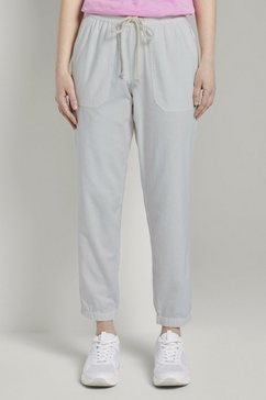 tom tailor denim chino »relaxed jogginghose aus leinengemisch« wit