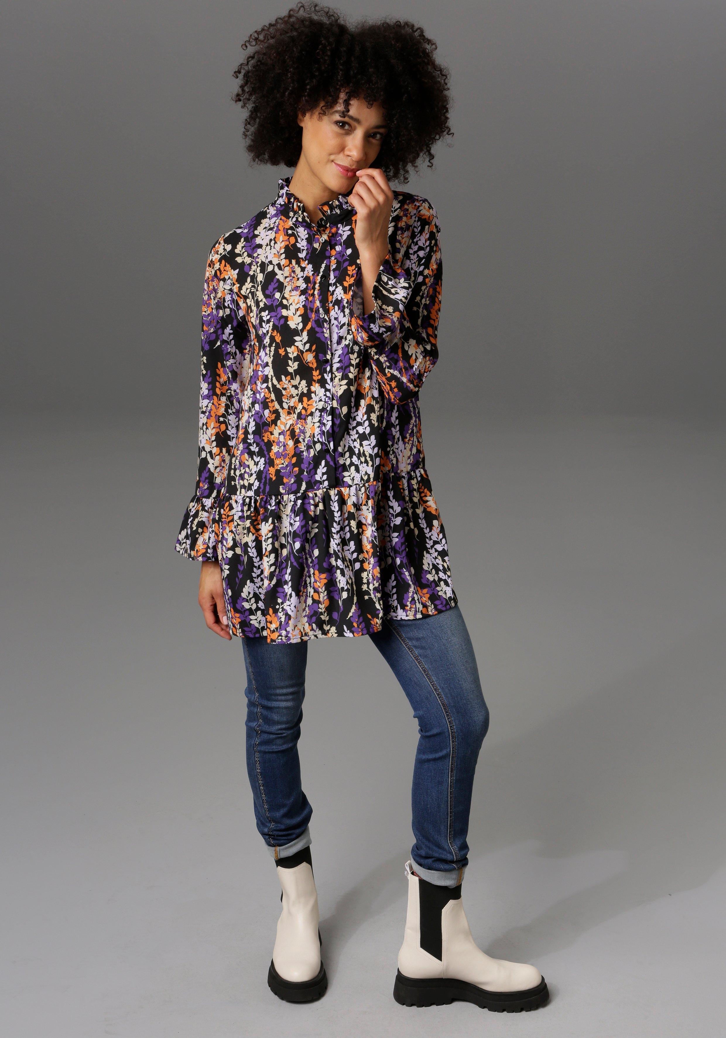 Aniston CASUAL lange blouse met ruches en volant - nieuwe collectie bestellen: 30 dagen bedenktijd