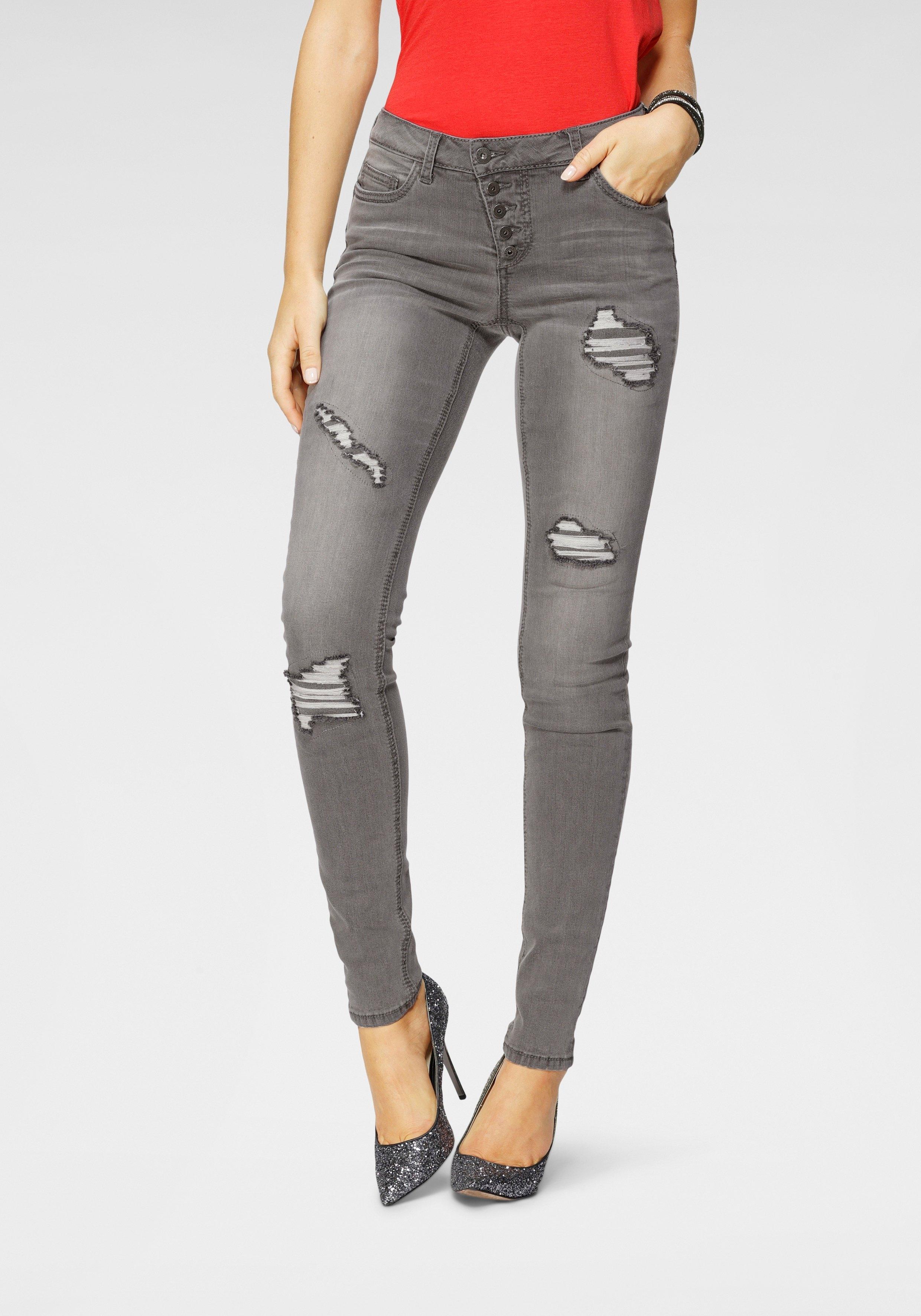 Arizona slim fit jeans »mit sichtbarer, schräger Knopfleiste« - verschillende betaalmethodes