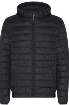 calvin klein gewatteerde jas recycled nylon hooded jacket met stijlvolle ck-print all-over zwart
