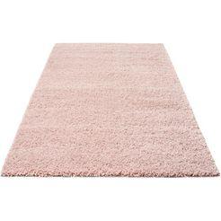 home affaire hoogpolig vloerkleed shaggy 30 geweven, woonkamer roze