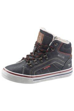 mustang shoes winterlaarzen met modieus contrastbeleg blauw
