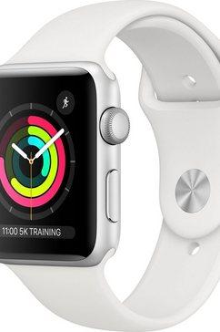 apple watch series 3 gps, aluminium kast met sportbandje 42 mm inclusief oplaadstation (magnetische oplaadkabel) zilver