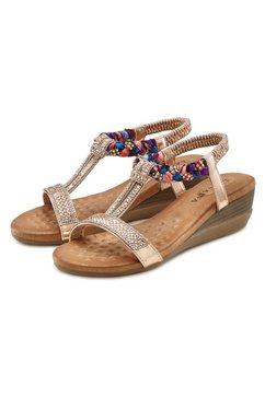 lascana sandaaltjes met elastiek en lichte sleehak goud