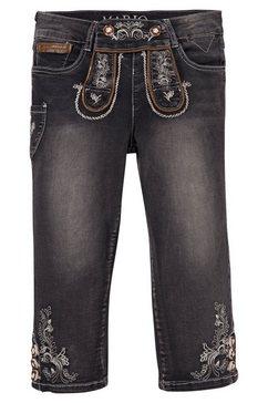 marjo folklorejeans 3-4 in used look met borduursels zwart