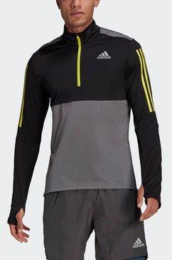 adidas performance runningshirt »own the run running 1-2 zip« grijs