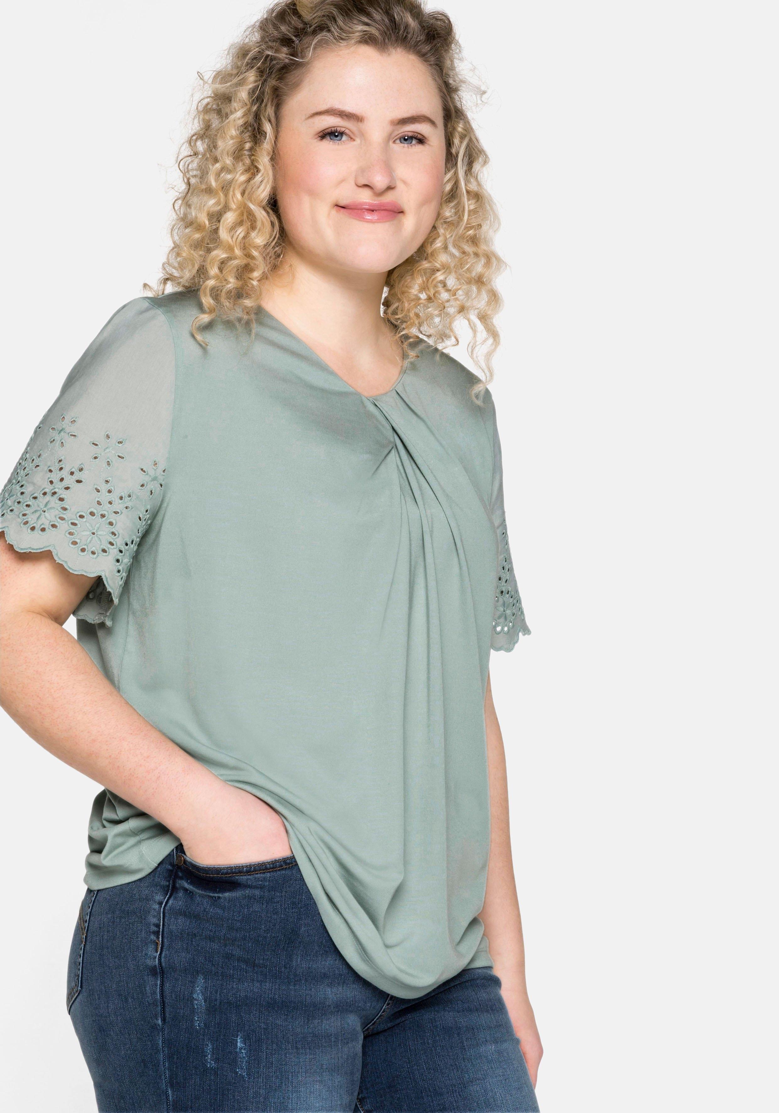Sheego T-shirt met kapmouwen en knoopdetail veilig op otto.nl kopen