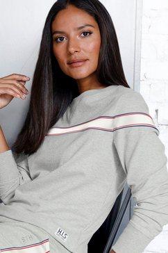 h.i.s sweatshirt met gestreepte tape grijs