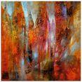 artland print op glas voorjaar in schlossallee (1 stuk) multicolor
