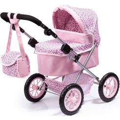 bayer poppenwagen trendy, roze-luipaard met luiertas roze