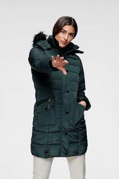 alpenblitz doorgestikte jas toronto hoogwaardige gewatteerde jas met capuchon en afneembare kraag van imitatiebont groen