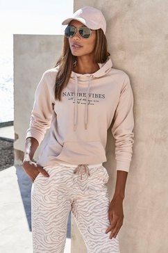 lascana hoodie met kangoeroezak beige