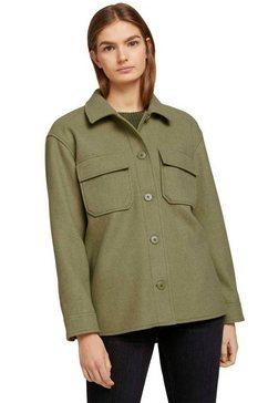 tom tailor denim fleecejack in overhemd-look groen