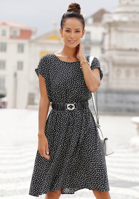 Lascana gedessineerde jurk met stippenprint nu online bestellen