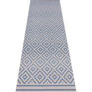 loper, bougari, »ruiten«, geschikt voor binnen en buiten, geweven blauw
