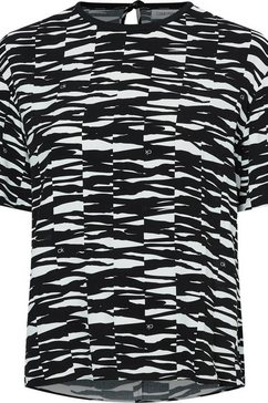 calvin klein shirtblouse viscose rayon short slv c-nk top in all-over animal-print met kleine ck-logo's zwart