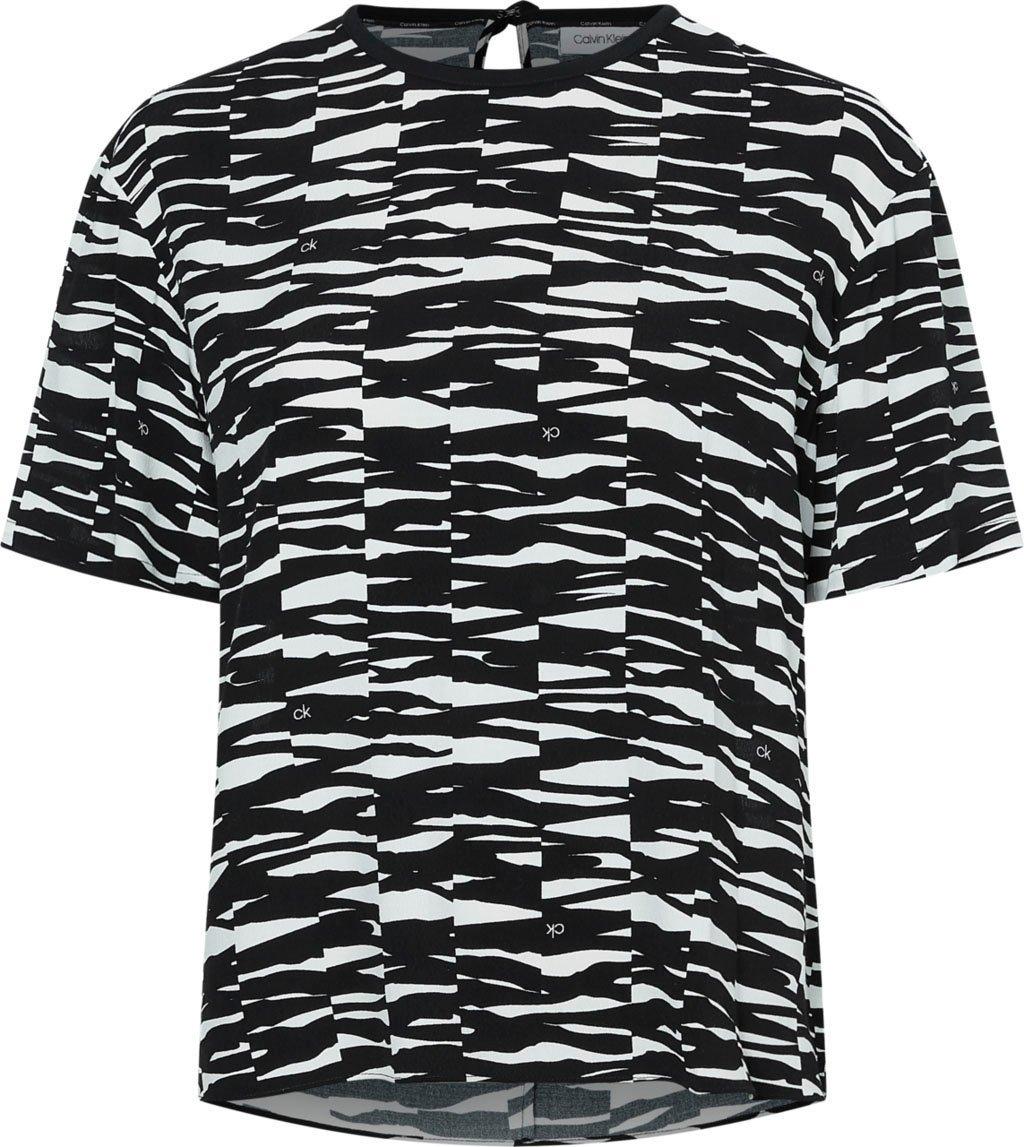 Calvin Klein shirtblouse VISCOSE RAYON SHORT SLV C-NK TOP in all-over animal-print met kleine ck-logo's - verschillende betaalmethodes
