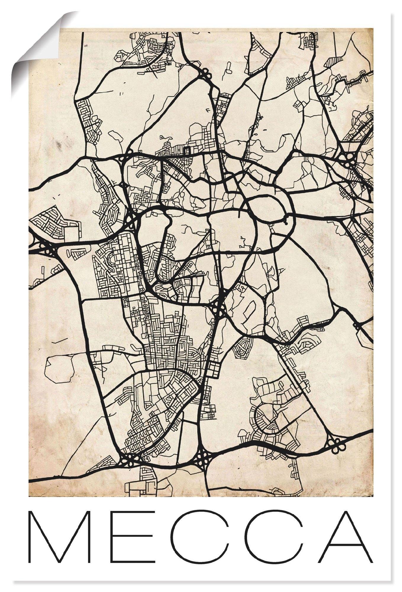 Artland artprint Retro kaart Mekka vintage Grunge in vele afmetingen & productsoorten - artprint van aluminium / artprint voor buiten, artprint op linnen, poster, muursticker / wandfolie ook geschikt voor de badkamer (1 stuk) voordelig en veilig online kopen
