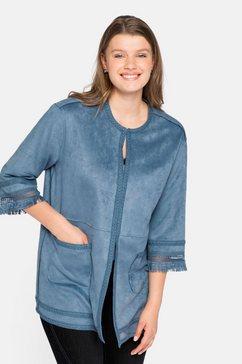 sheego lange blazer in suède-look blauw