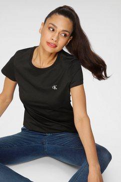 calvin klein t-shirt ck embroidery slim tee met geborduurd ck-logo op borsthoogte zwart
