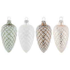 thueringer glasdesign kerstversiering naturel dennenappels (set, 4-delig) multicolor