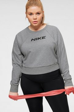 nike sweatshirt women's fleece training crew (plus size) grijs