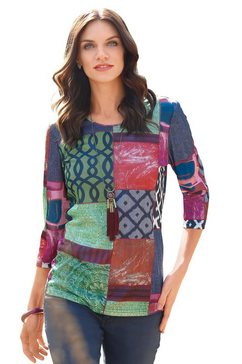 classic basics shirt in leuke patchwork-look multicolor