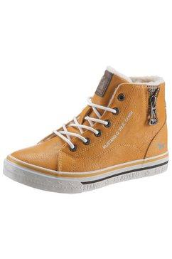 mustang shoes winterlaarzen met sierrits opzij geel