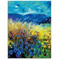 artland print op glas blauwe wilde bloemen (1 stuk) blauw